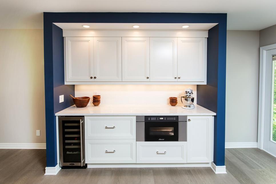 kitchen prep area with white cabinets  kitchen design