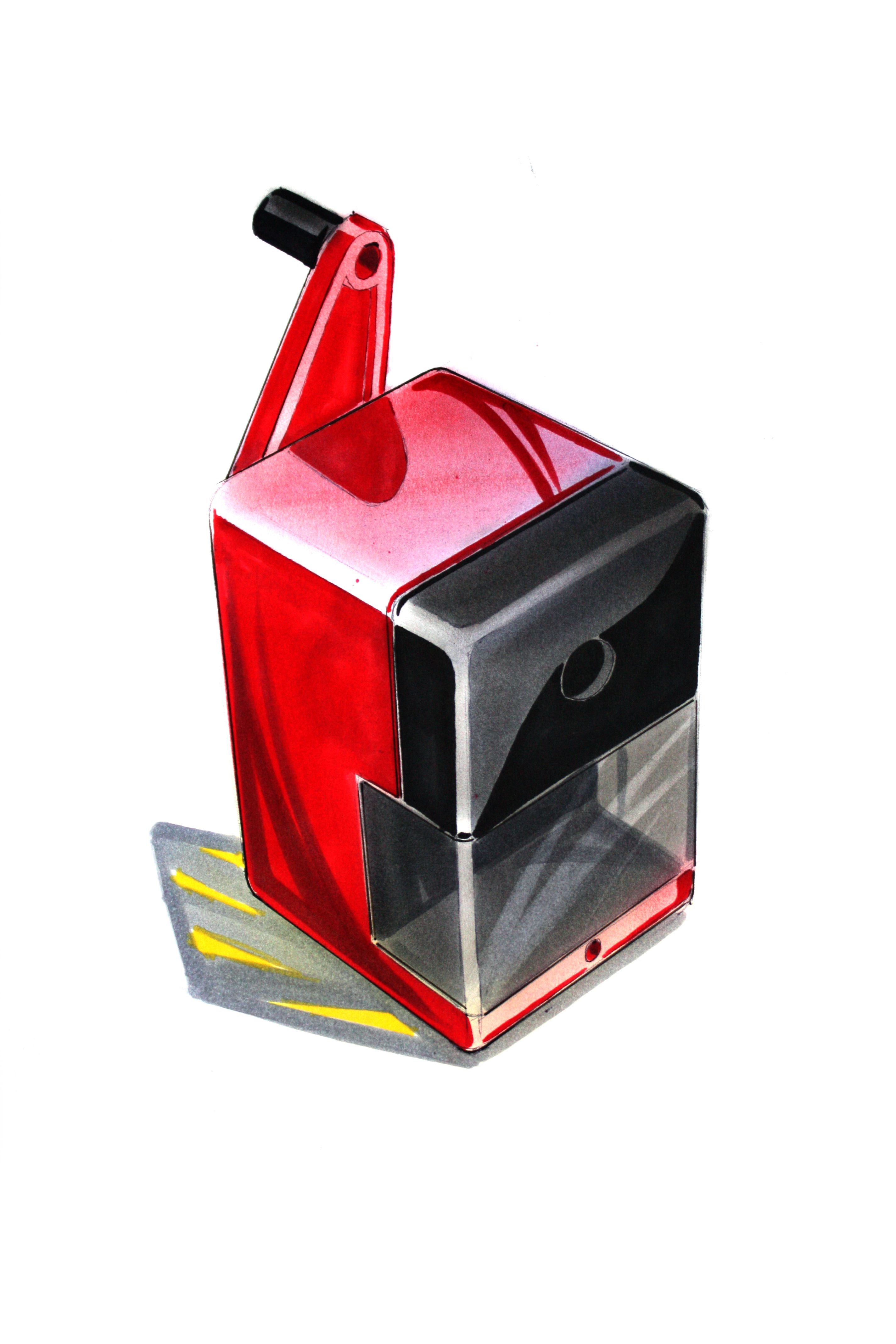 pencil sharpener rendering by marker amp pastel technique