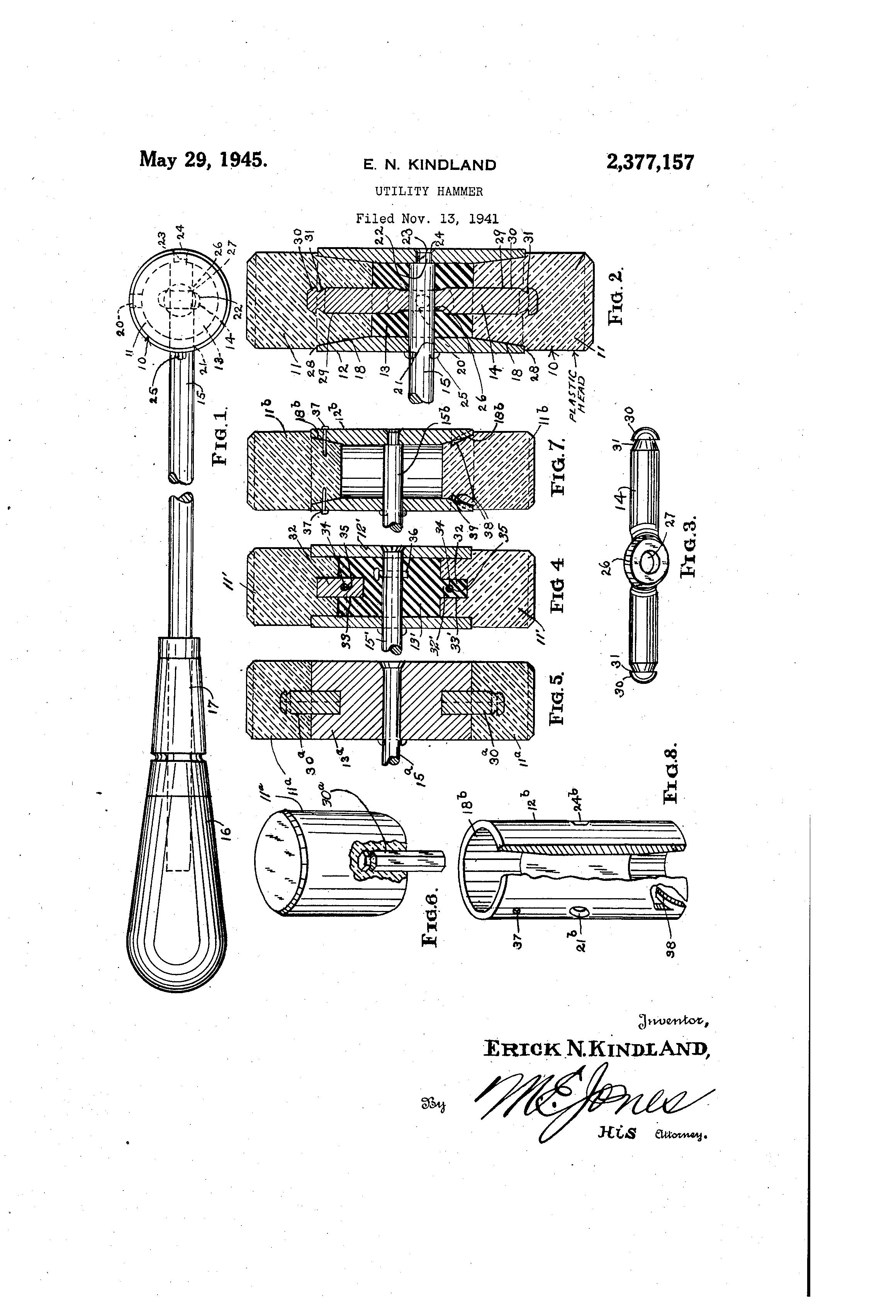 US2377157A Utility hammer Hammer, Utilities, Sheet metal