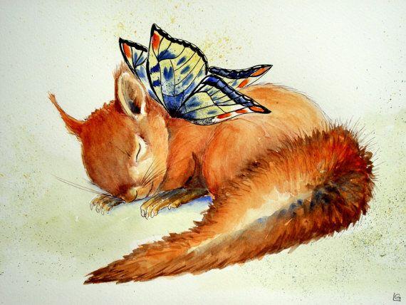Sleeping Baby Squirrel Fairy, original watercolour ...