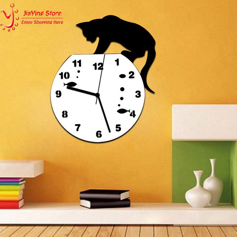 New Acrylic Cat Clock 2MM White Digital Clocks on Wall For Living ...