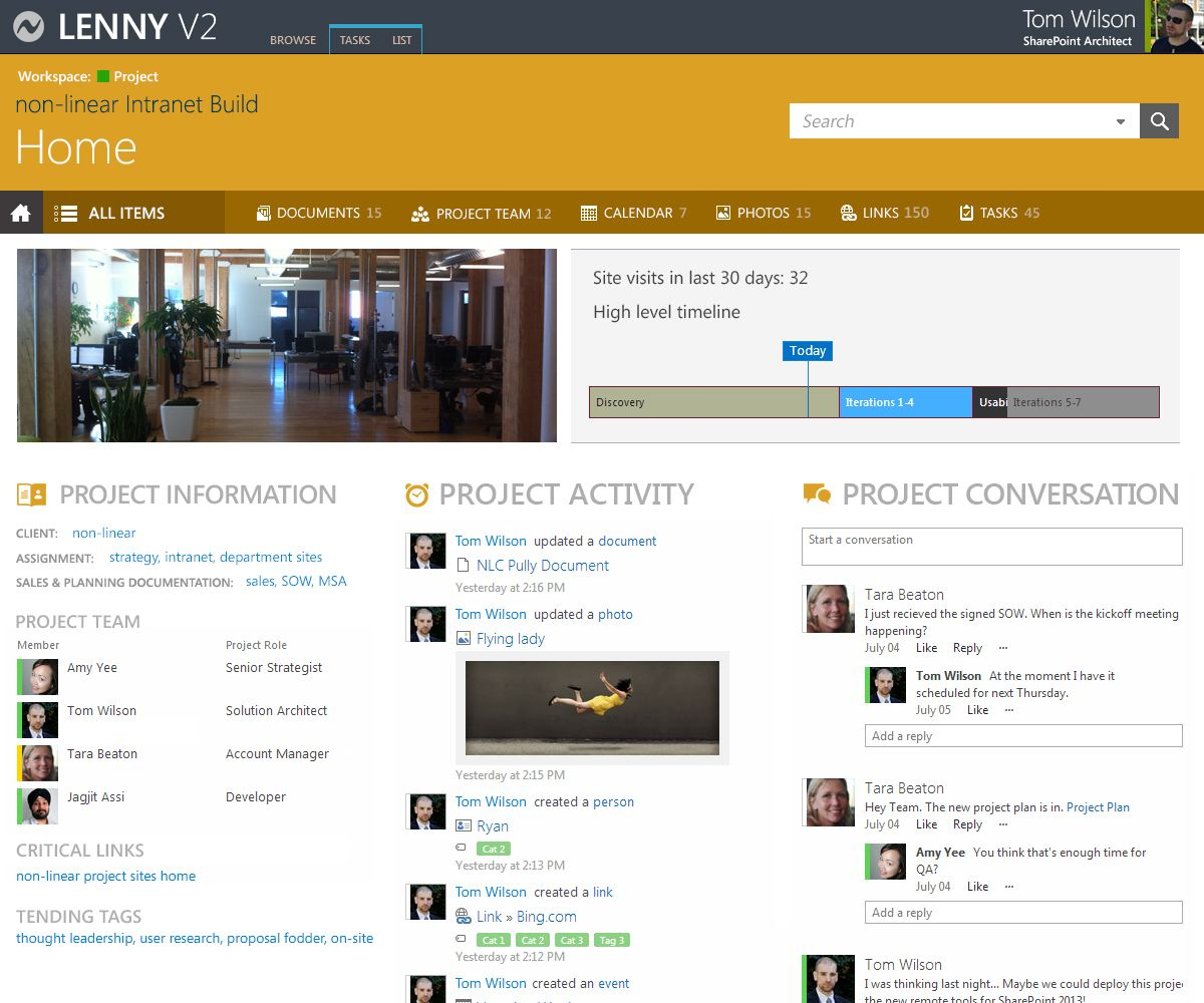 Sharepoint site design ideas - Intranet Project Site Example