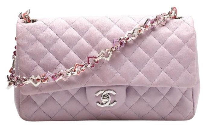 a70025fb2bc9 Chanel Valentines Valentine Heart Chain Link 2004 Medium Large Classic  Single Flap Lavender Lilac Shoulder Bag. Get one of the hottest styles of  the season!