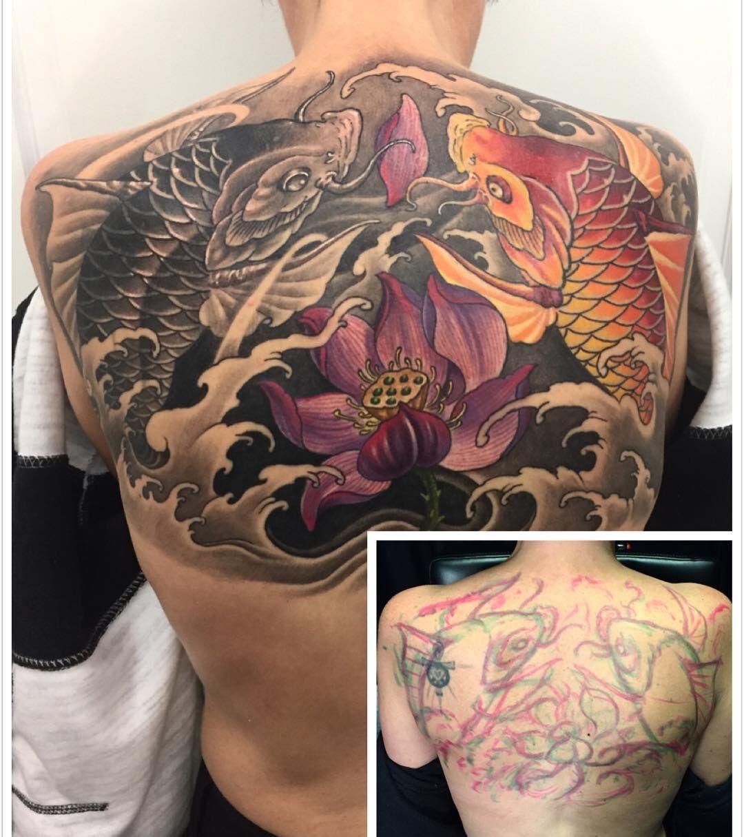 Koi Fish And Lotus Back Piece Koi Tattoo Design Koi Tattoo Tattoos