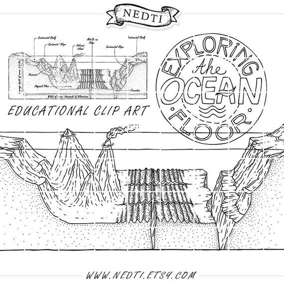 Earth's Oceans Educational Clipart, Hand Drawn Vector