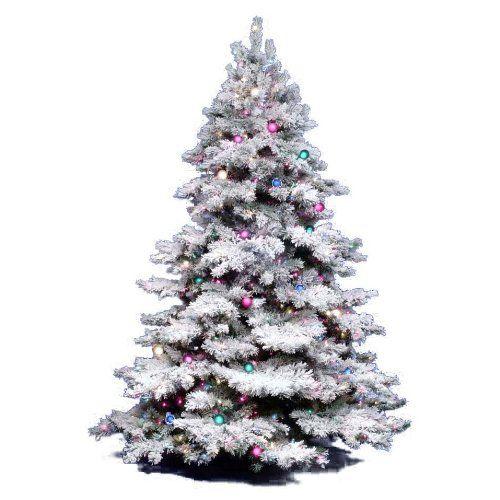 Vickerman Flocked Alaskan Tree with Dura-Lit 600 Clear Lights, 65