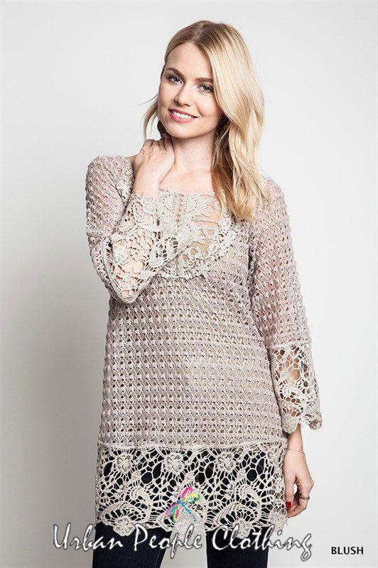 NWT Bohemian Clothing Boho Trendy Chic Blush Crochet Top Tunic ...