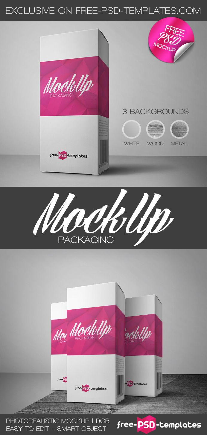 Free Packaging Mock-up in PSD   Free photoshop, Mockup and Psd templates