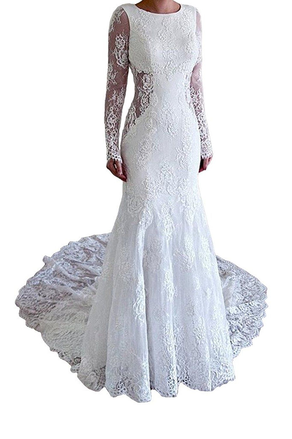 Menoqo womenus sexy lace mermaid long sleeve backless bridal wedding