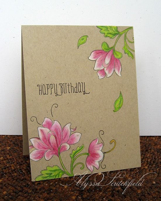 Handmade Card Persian Birthday One Layer Kraft