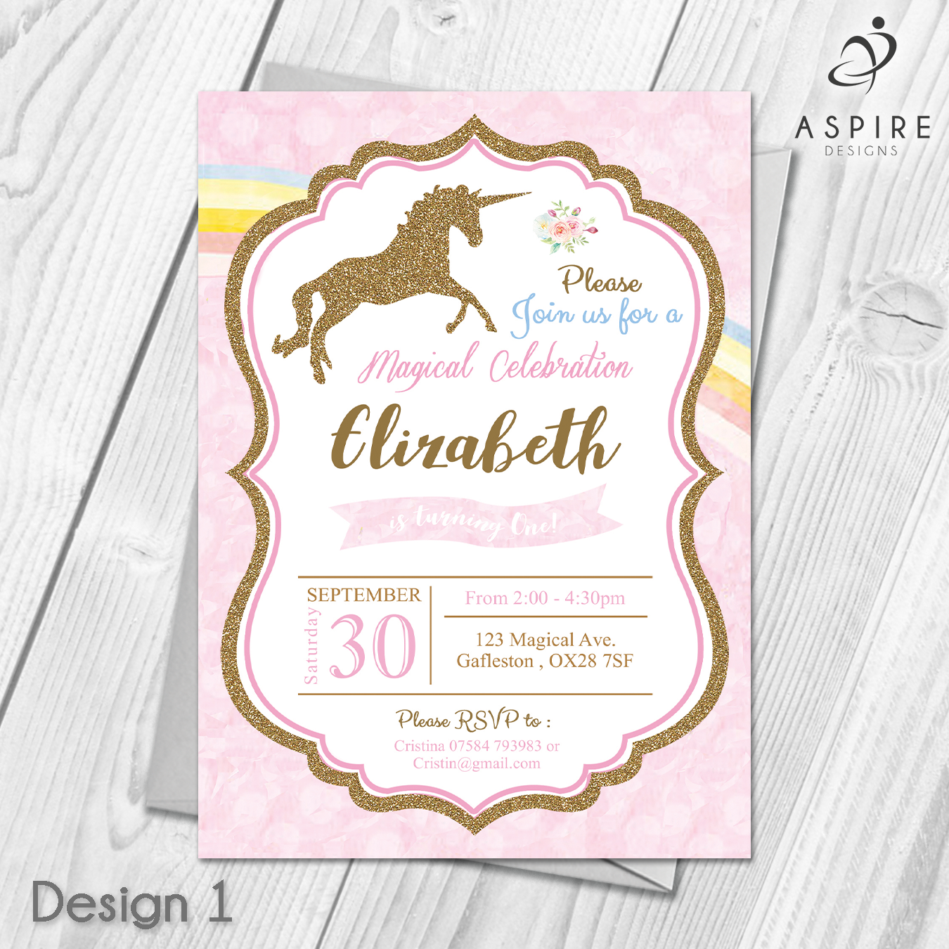 Personalised girls childrens unicorn pink birthday party invitations personalised girls childrens unicorn pink birthday party invitations 10 100 custom made with your own text all orders include free uk 1st class royal mail filmwisefo