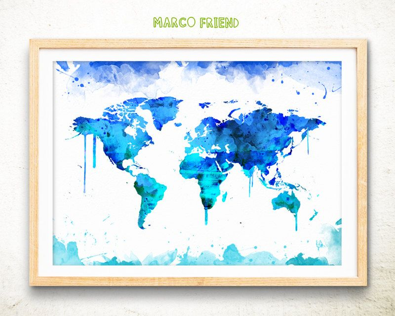 World map prints travel map poster watercolor map watercolor world map watercolor art print poster world map poster travel map poster world map wall art world map art print home decor by marcofriend on etsy gumiabroncs Gallery