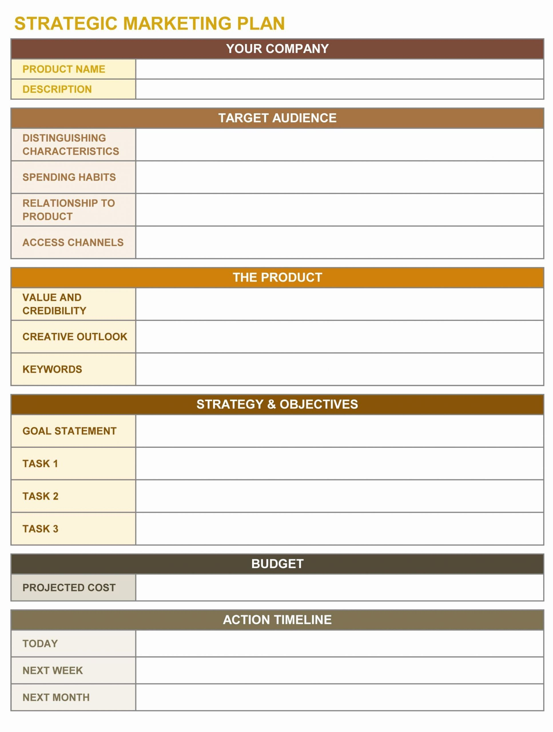Marketing Action Plan Template Excel Elegant Strategic
