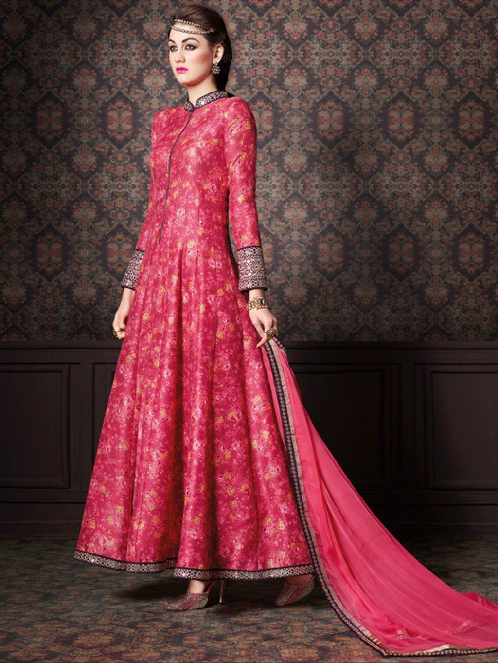 Pink Silk Anarkali Suit with Embroidery Work #Anarkali #Pink ...