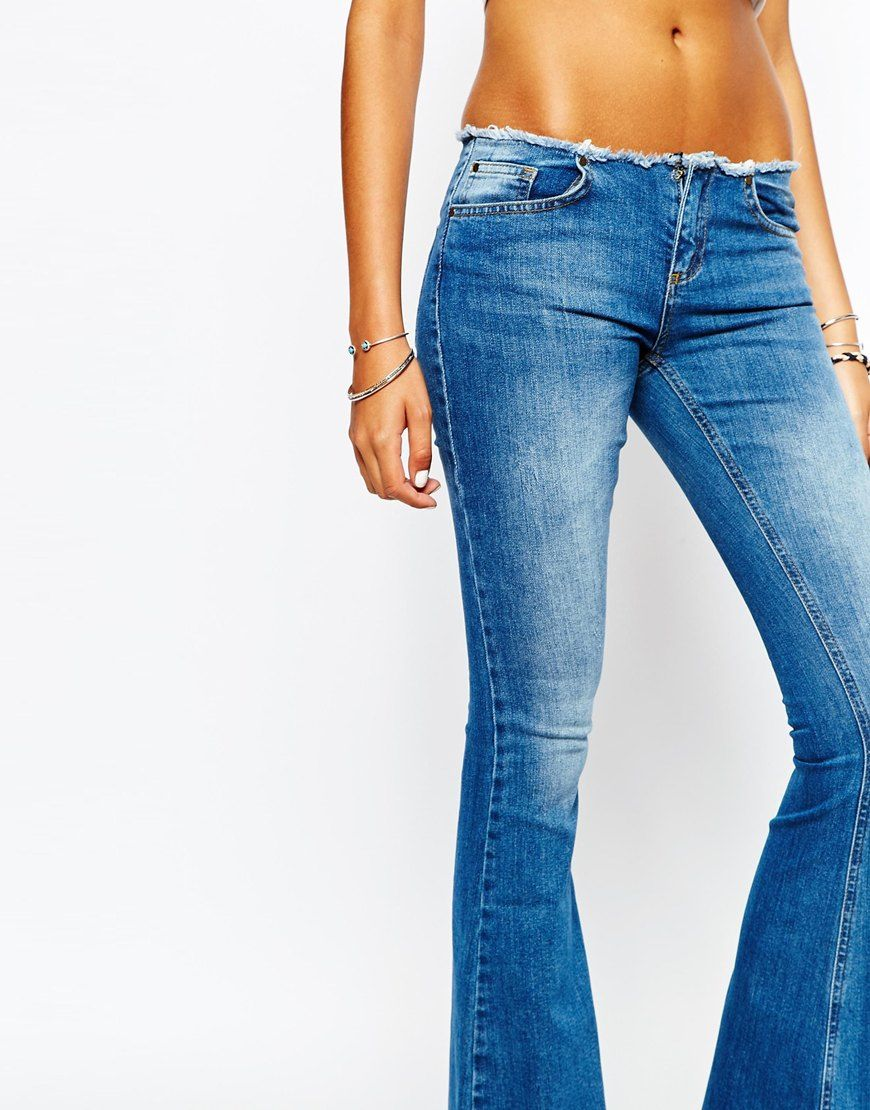 Image 3 of Northmore Denim Low Rise '90s Kick Flare Jeans With Raw ...