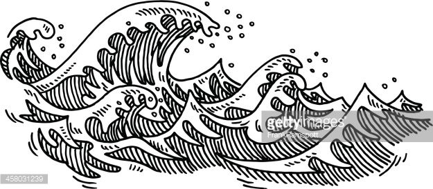 Waves drawing. Hand drawn vector of