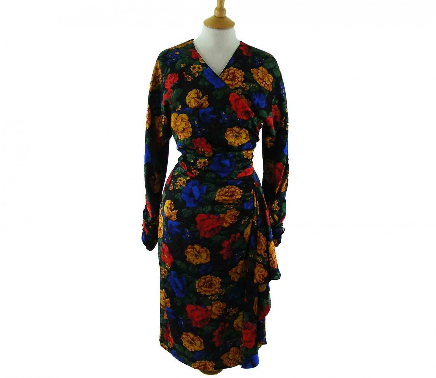 """80s Floral Print Dress Features a big floral print in yellow, blue, red, green and black  #80sdress #vintagefashion #vintage #retro #vintageclothing #80s #1980s #vintagedress <link rel=""""canonical"""" href=""""http://www.blue17.co.uk/>"""