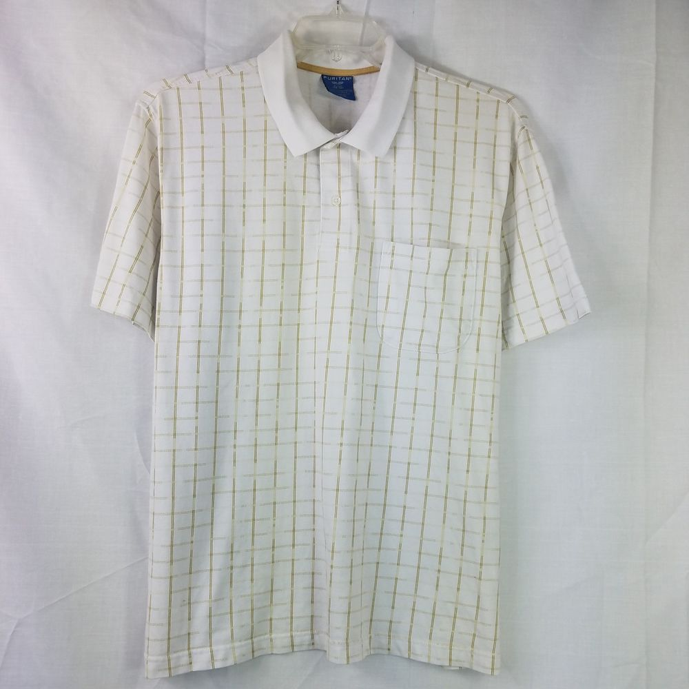 5b2e6a8c Puritan Mens Polo Shirt White Gold Plaid Pocket Cotton Poly Casual Size XL  46-48 #Puritan #PoloRugby