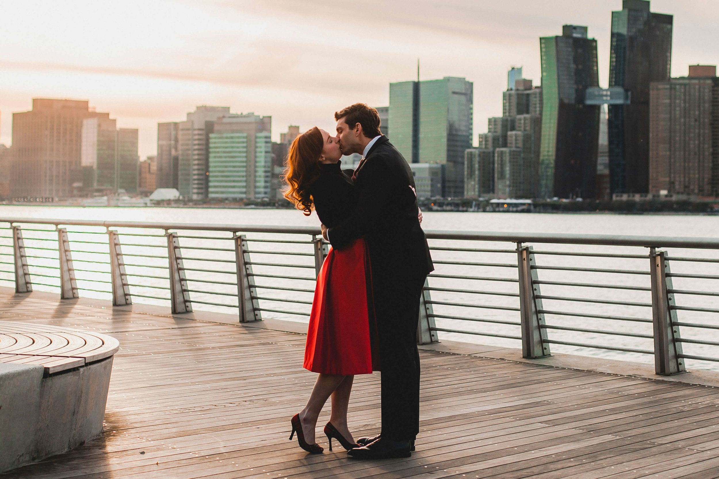 NYC Couple's Shoot Waterfront at LIC. Awesome Outfit idea