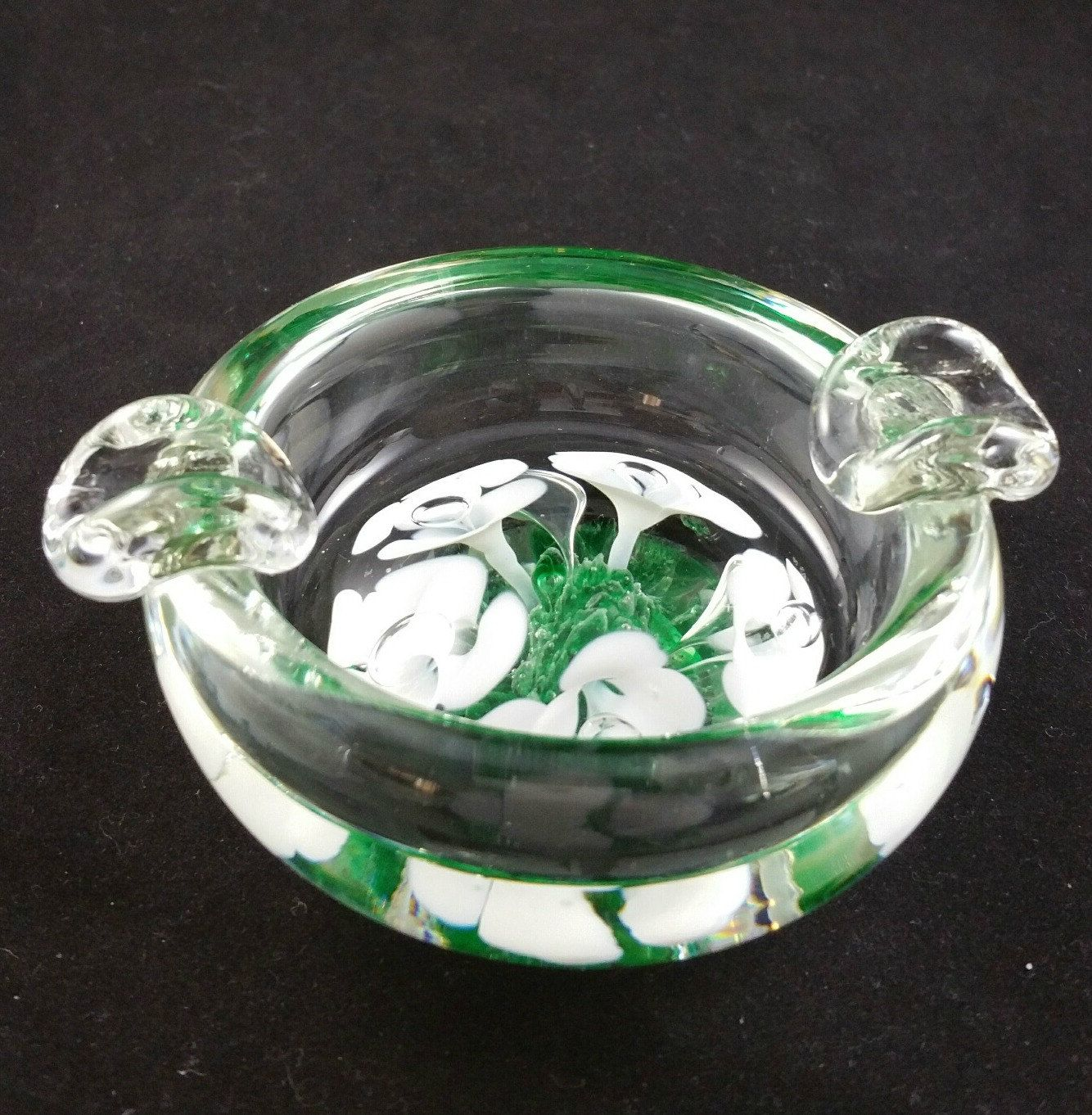 Vintage St Clair Art Glass Ashtray With Hand Painted Flowers