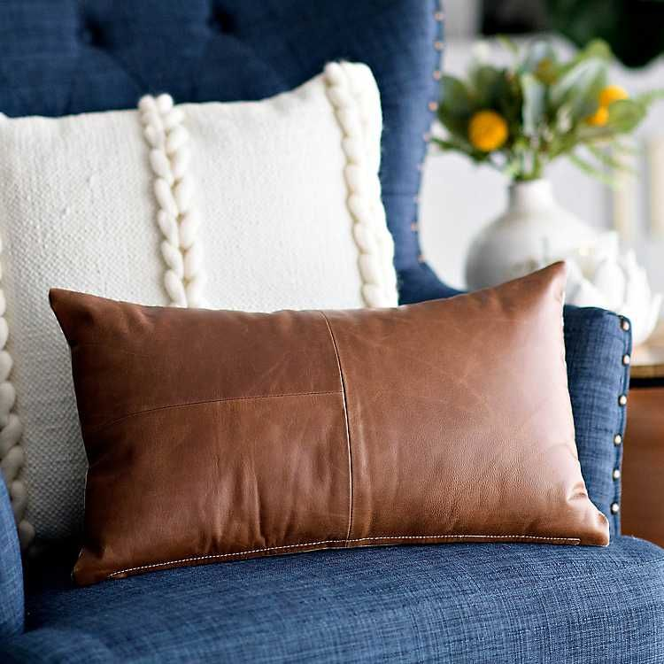 Leather And Linen Accent Pillow From Kirkland S Accent Pillows Living Room Leather Throw Pillows Fall Accent Pillows