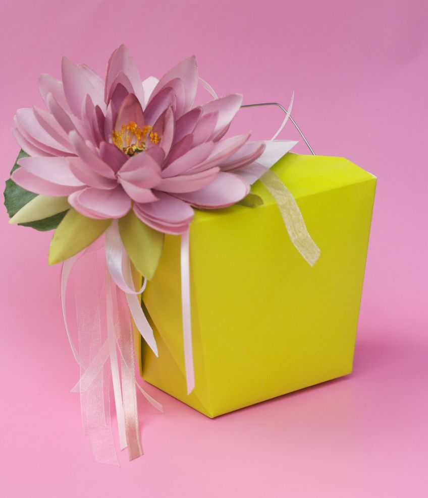 Water Lily topper on chinese takeout box | Corinna Wraps | Nice idea ...