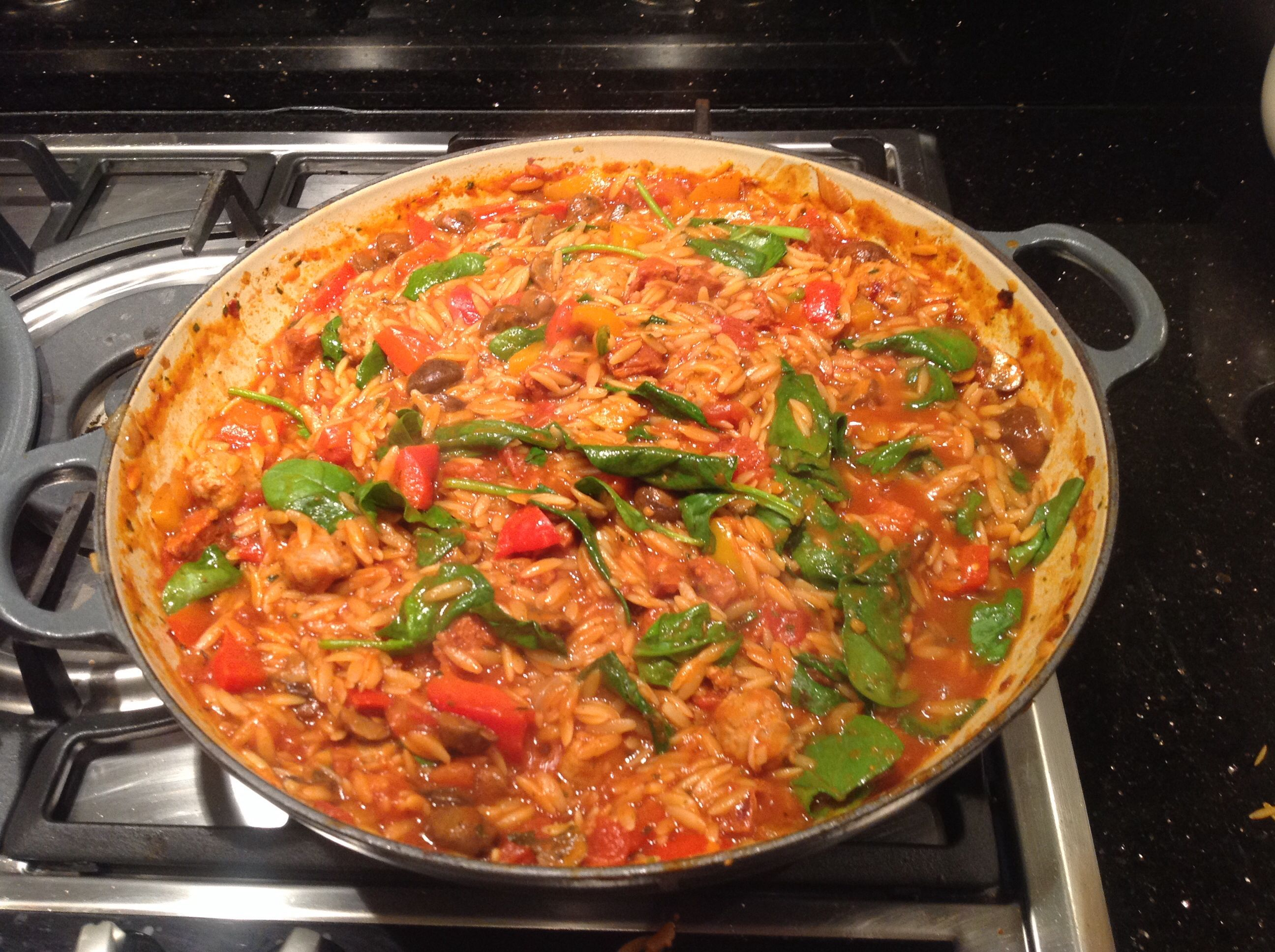 Ignore link. Orzo with chorizo, garlic, tin chopped toms, beef stock and olive oil. Baked on 180 for 45 - 1 hour. Amelia loved this.