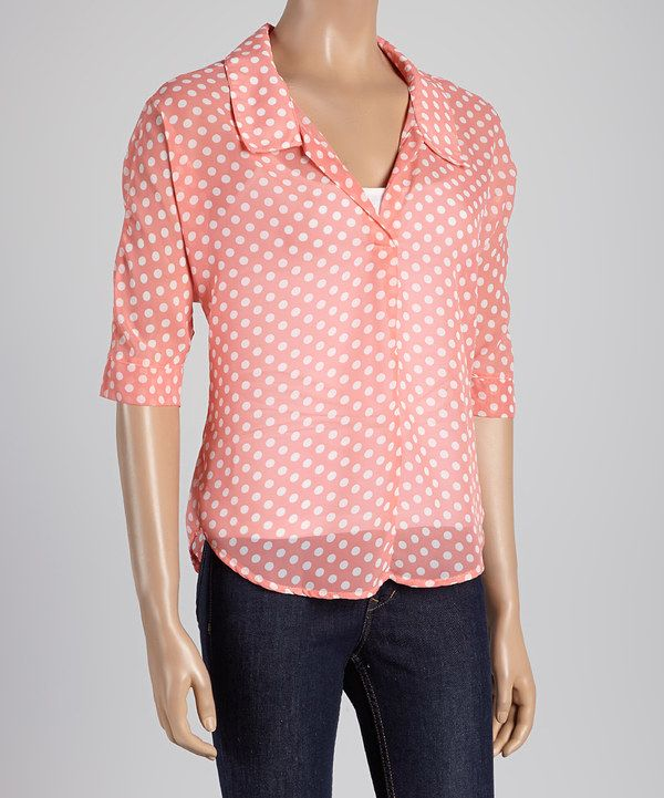 Love this Pink & White Polka Dot Semi-Sheer Button-Up Top by Select Brands on #zulily! #zulilyfinds