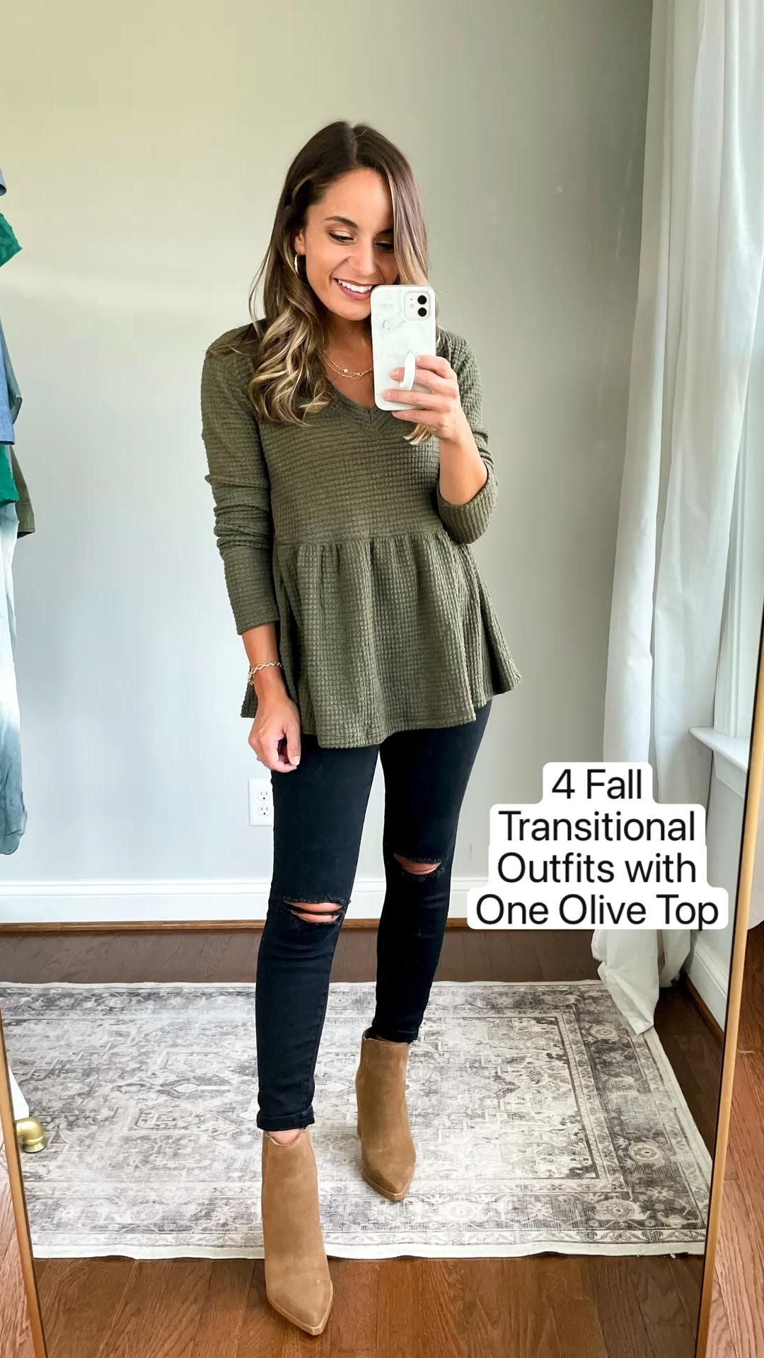15+ 4 Fall  Transitional  Outfits with  One Olive Top