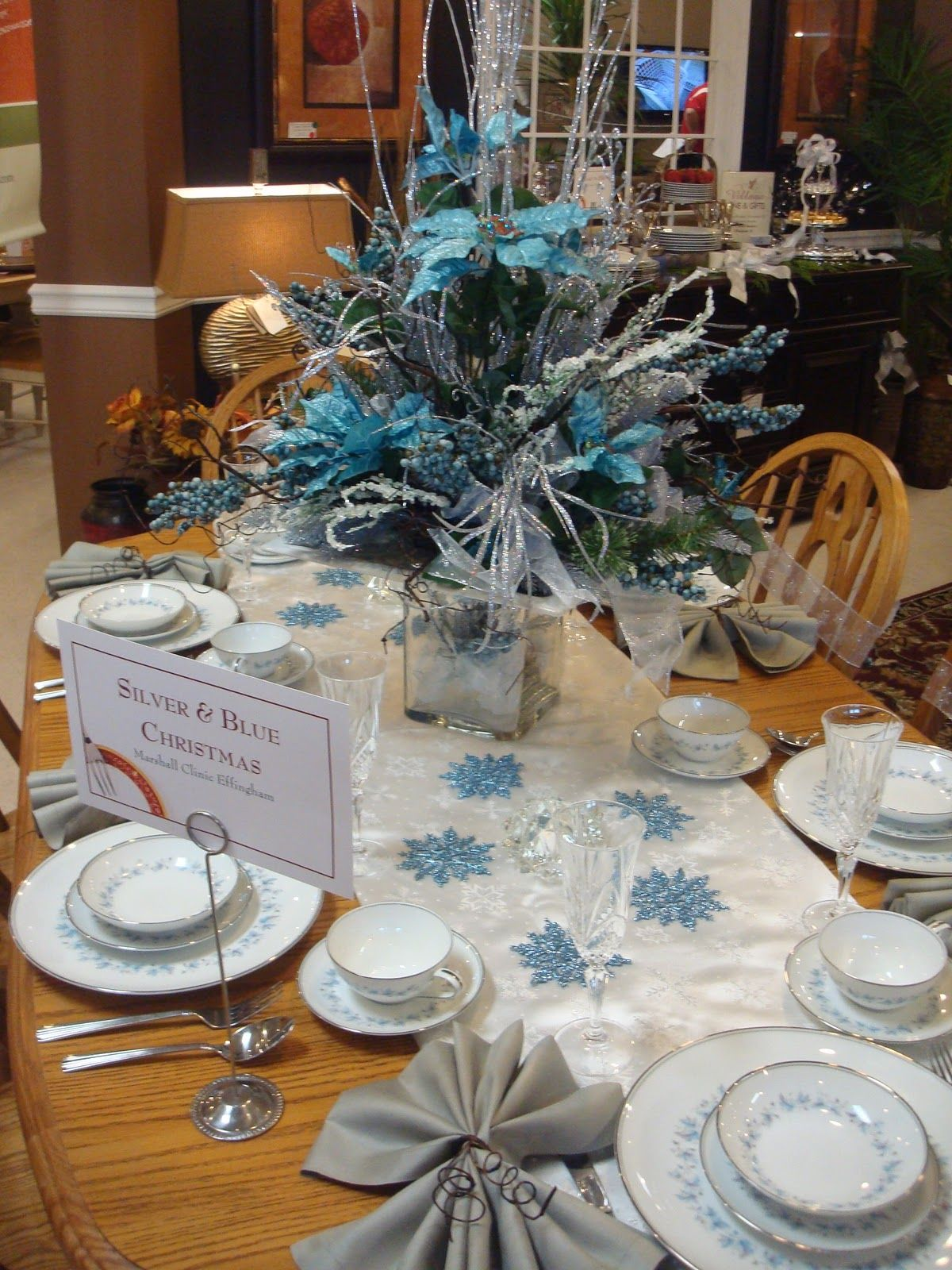 Blue And Silver Table Decorations Blue And Silver