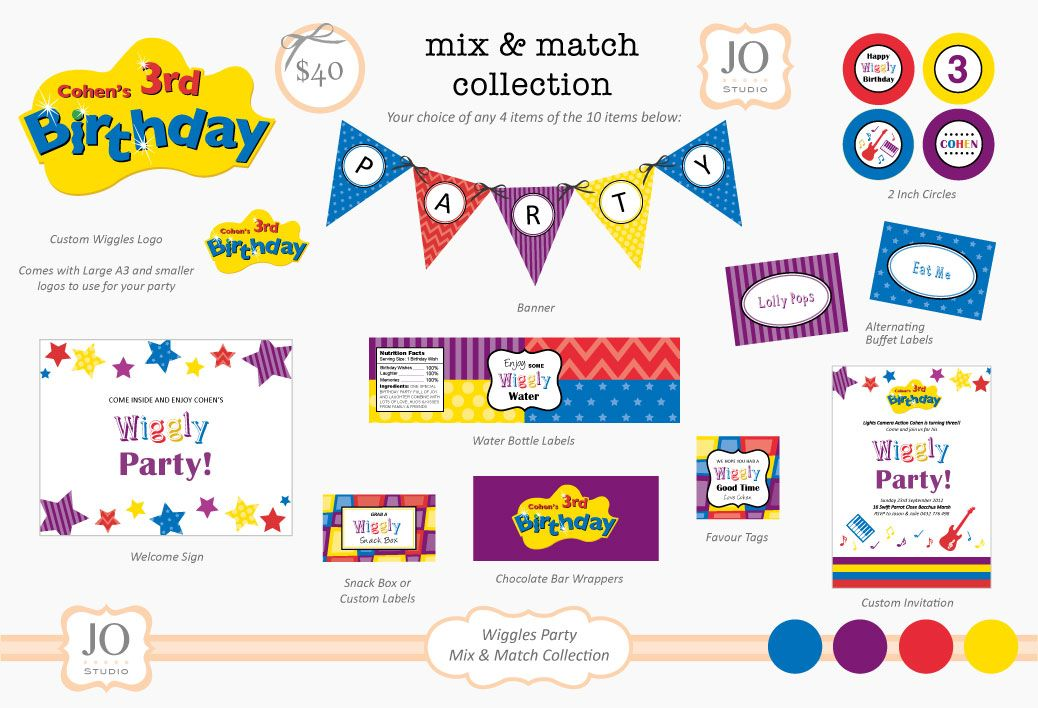 Mix And Match Collection For A Wiggles Birthday Party Printable
