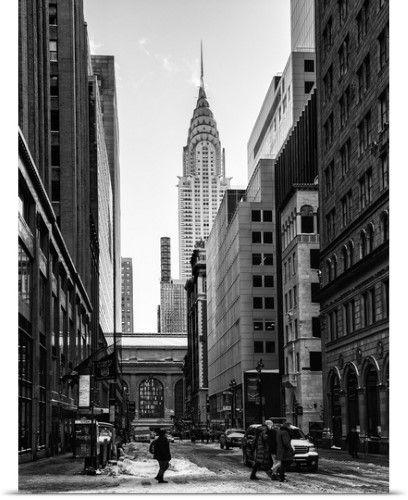 Philippe Hugonnard Poster Print Wall Art Print Entitled New York City Manhattan Under Snow Grand Central Terminal Chrysler Building Street Photography Urban