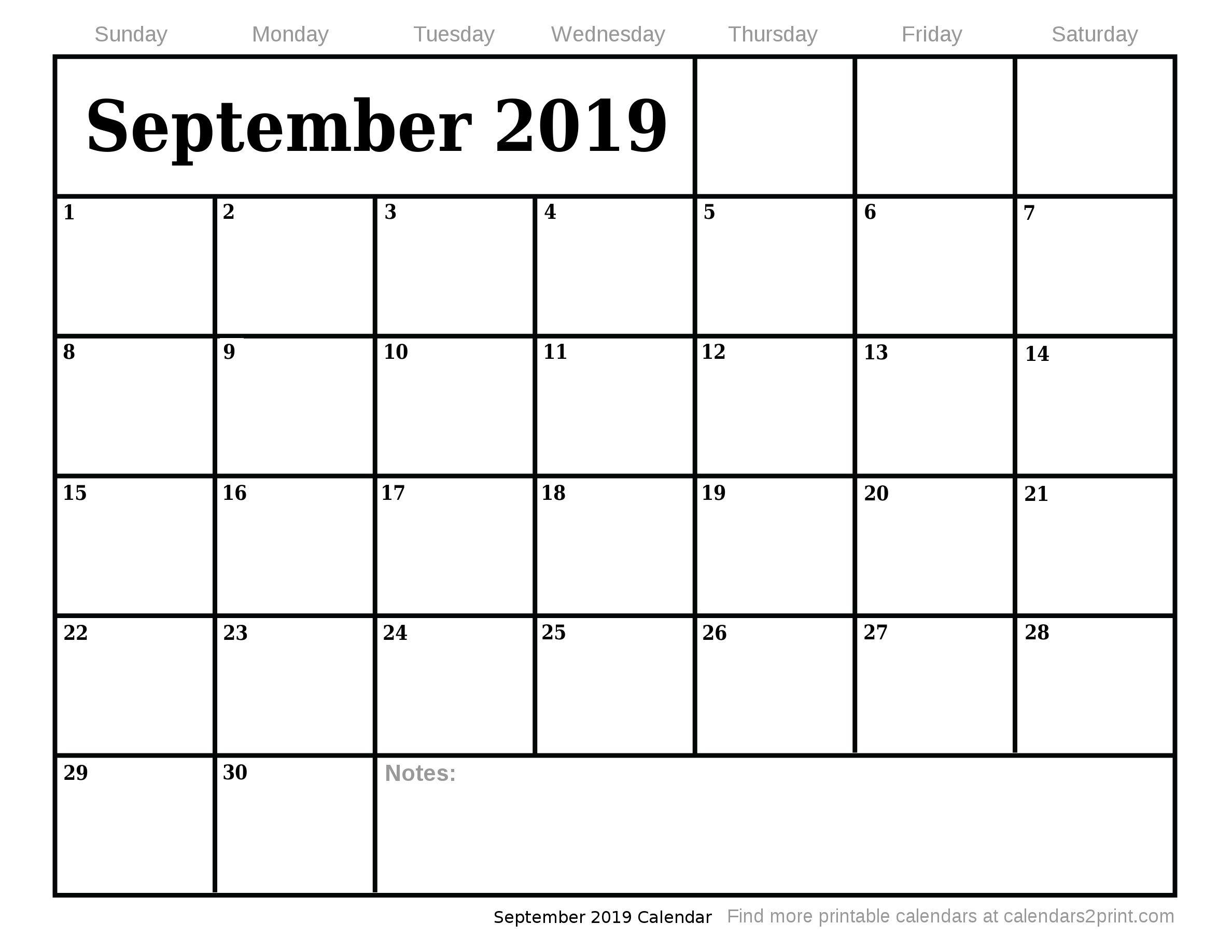 September Printable Calendar Free