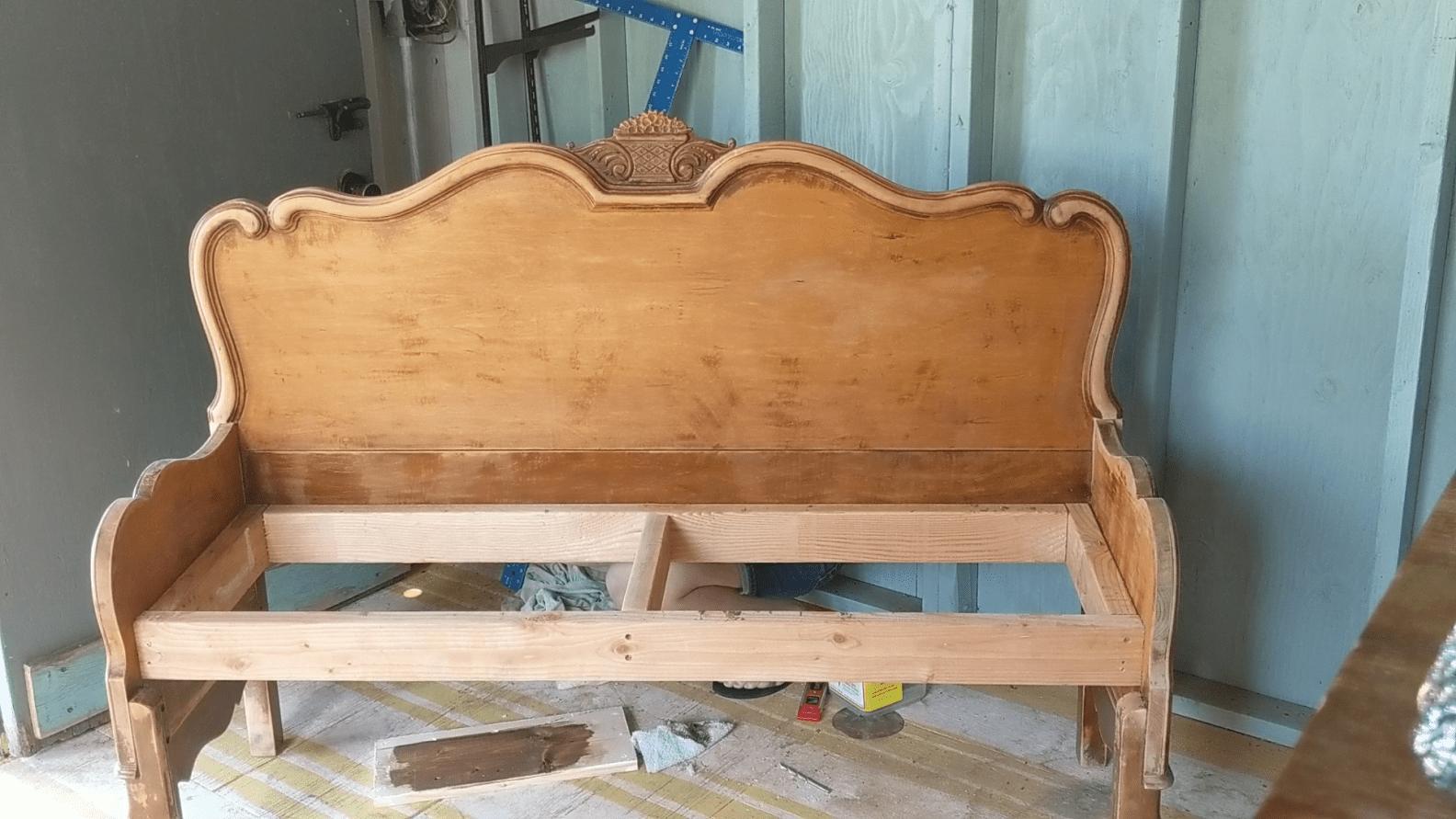 DIY Headboard Bench Old headboard, How to make headboard