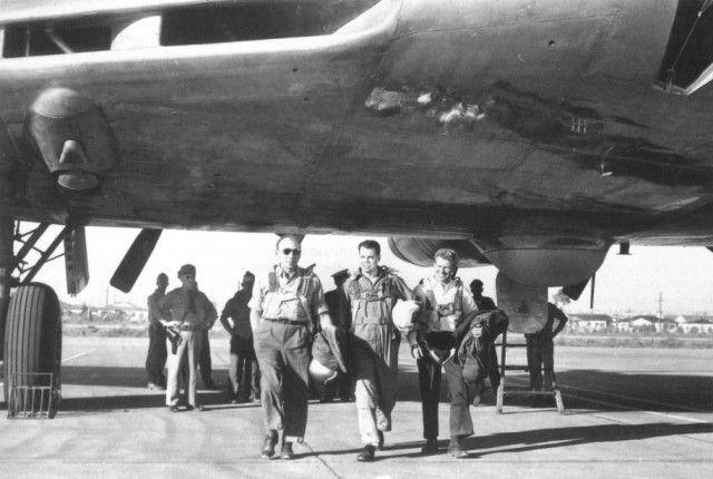Flight test crew of Northrop's XB-35 at Northrop Field, Hawthorne, California, 1946.