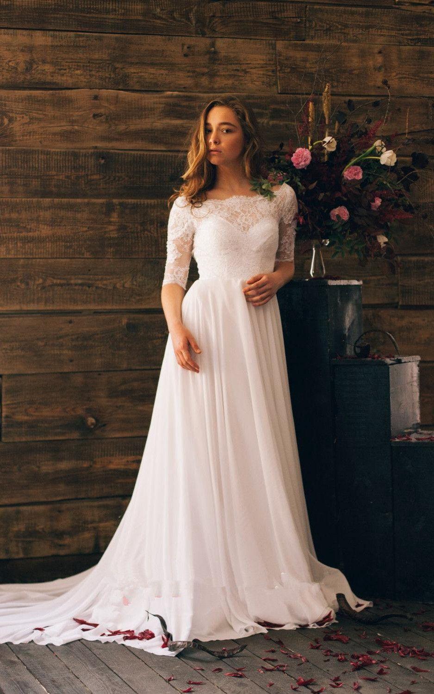 V back silk spring wedding dress half sleeves bridal dress spring