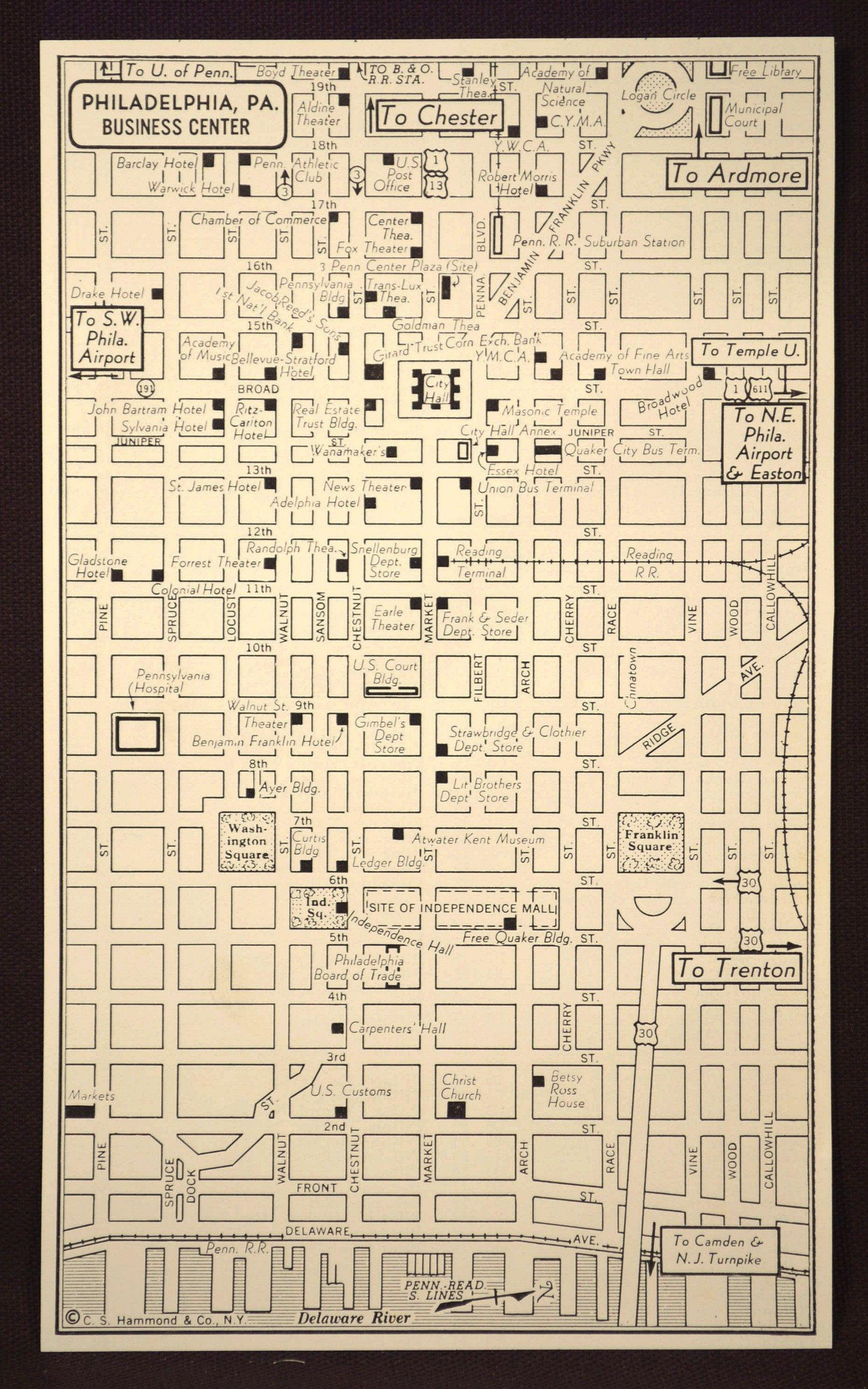 Philadelphia Map Philadelphia Street Map Vintage | Map Wall Decor ...