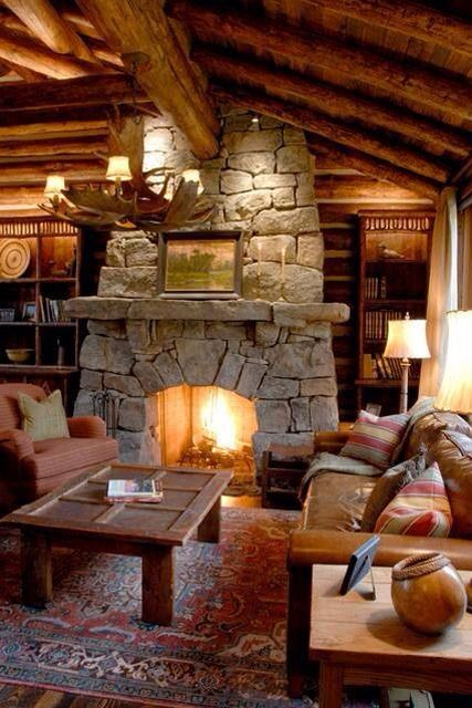 There S Something To Be Said About The Cozy Warm Feeling Achieved With Lower Ceilings One Of The Reasons People Enjoy Cottages So Much 360 Ranch Guest Cab With Images Cabin Fireplace