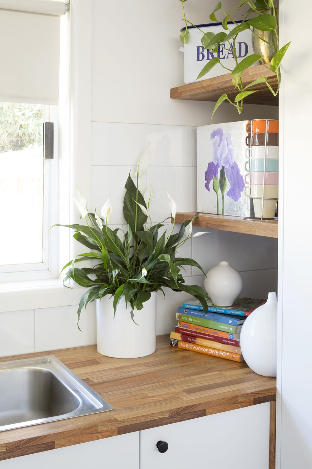 little charmer we love the use of our hickory maple benchtops to create these gorgeous shelves on kaboodle kitchen storage id=82320