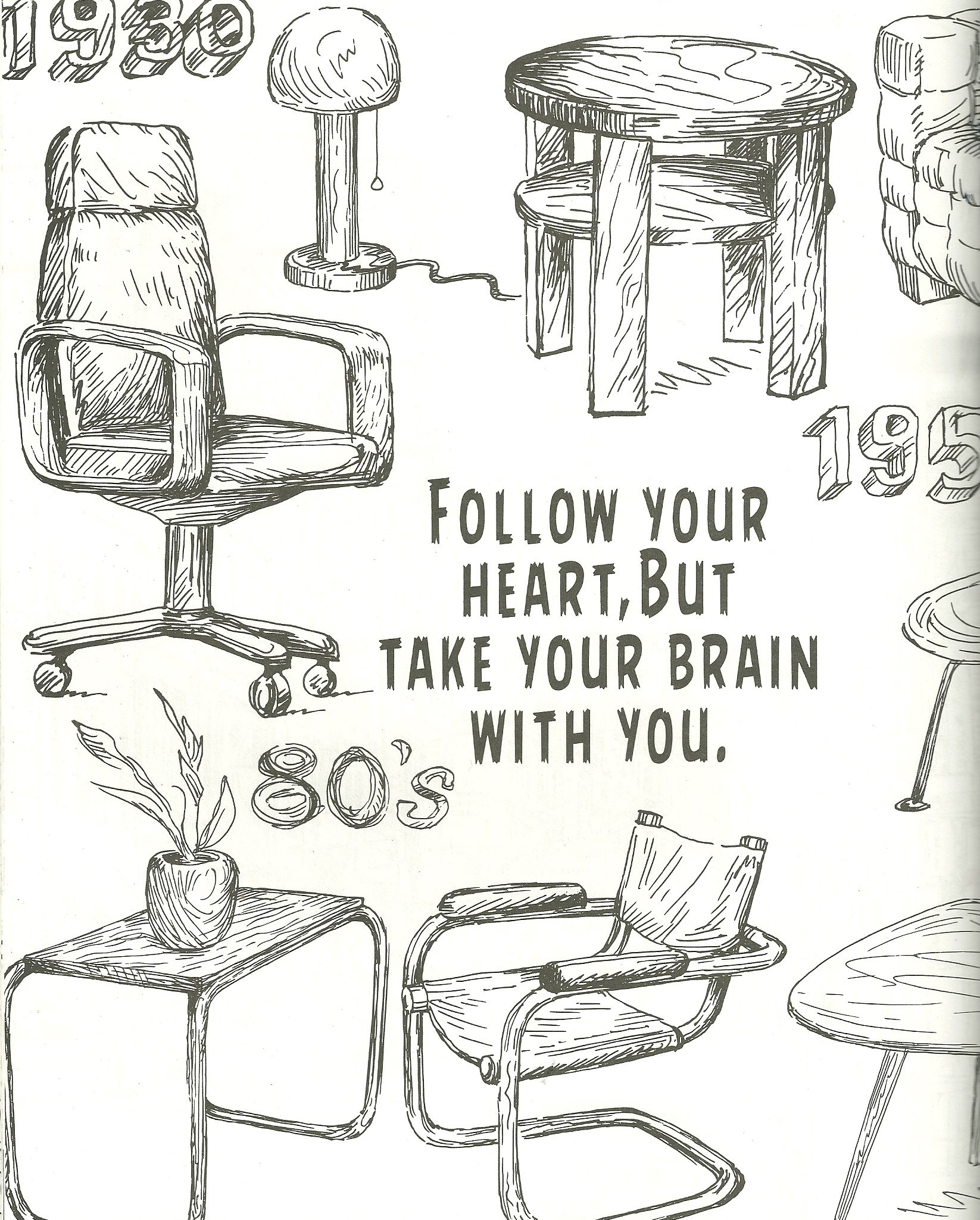 Coloring pages furniture - Follow Your Heart Coloring Page Office Chairs