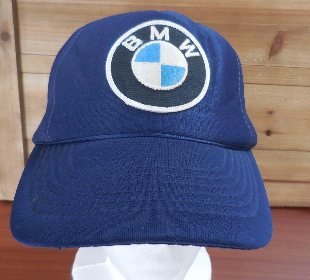 5d767c50466cd Vintage BMW Navy Blue Nylon Snap-back Trucker Hat  DesignerAwardCap  Cap   Casual