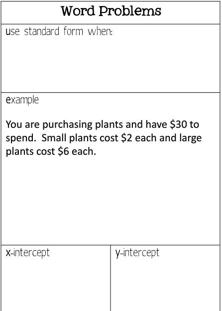 Standard Form Word Problems Notes Algebra Ideas Pinterest