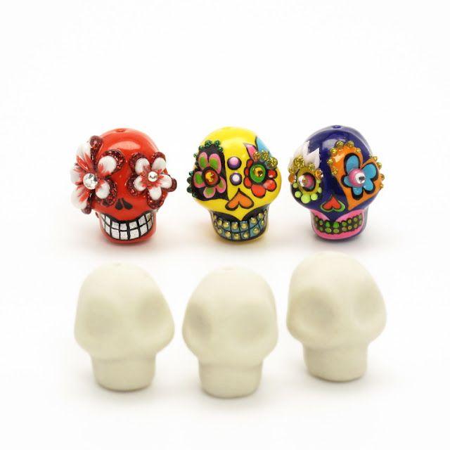 Diy Supplies Ceramic Handmade Mini Skull Bead Polymer Clay Crafts Skull Crafts Handmade