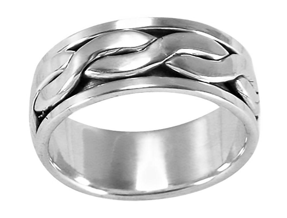 925 Sterling Silver Braid Spinner Ring 7 Gram Size 9 10 11 12 13
