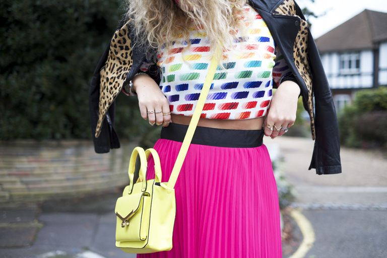 2261e44d953f chanel paint palette inspired swater, rainbow sweater, sweatshirt, jumper,  pleated skirt, neon bag, street style.