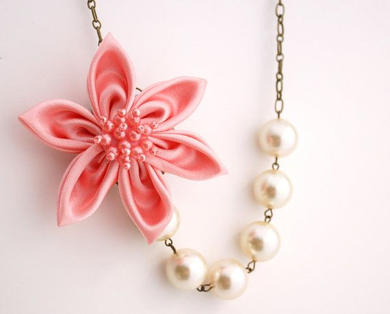 Pink Satin Fabric Flower Necklace Buy 3 Get 1 by BrittanyChavers, $29.00