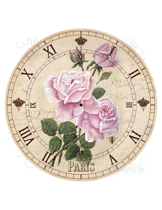 Shabby Chic Printable Clock-DIY Pink Victorian Roses Clock Face - clock face template