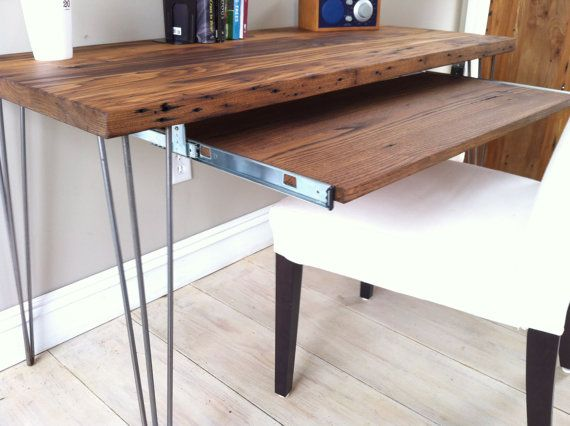 Modern Industrial Desk With Slide Out Keyboard Tray By Scottcassin