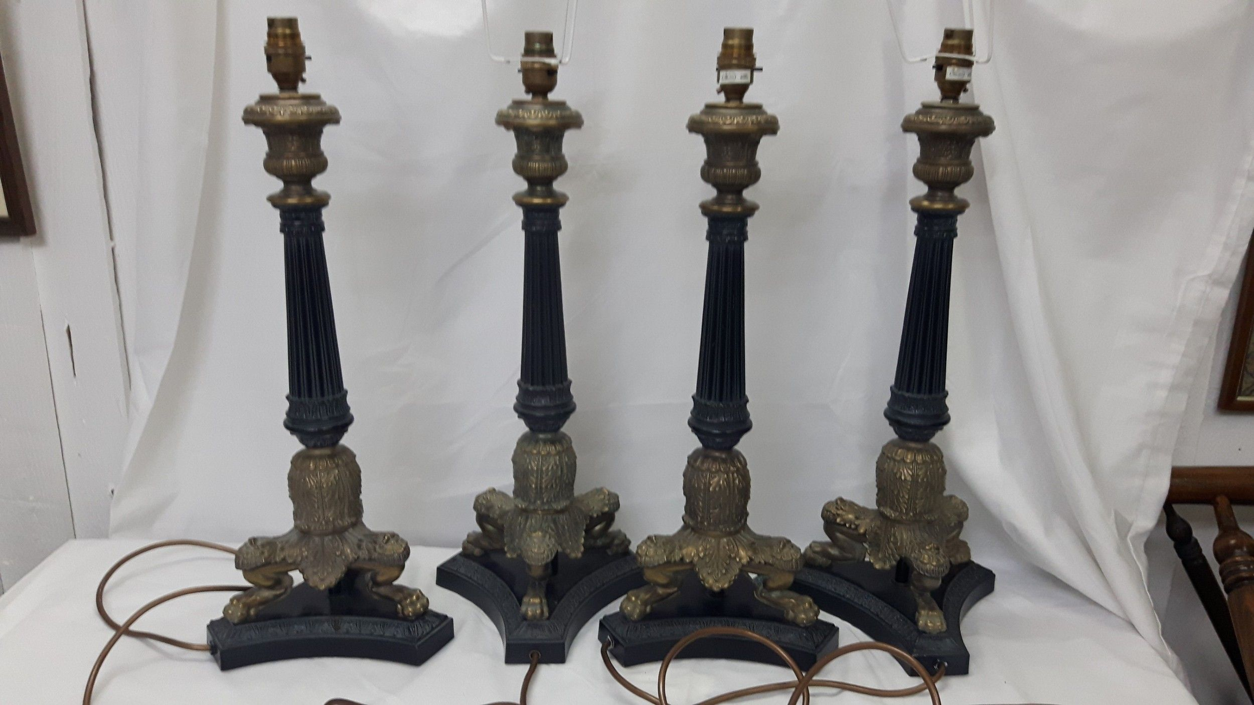 Pin by suegell on lamps pinterest corinthian 4 edwardian corinthian style table lamps in bronze and brass geotapseo Choice Image