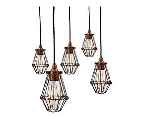 Set di 5 lampadario in metallo e acciaio Areta - 200x20x10 cm